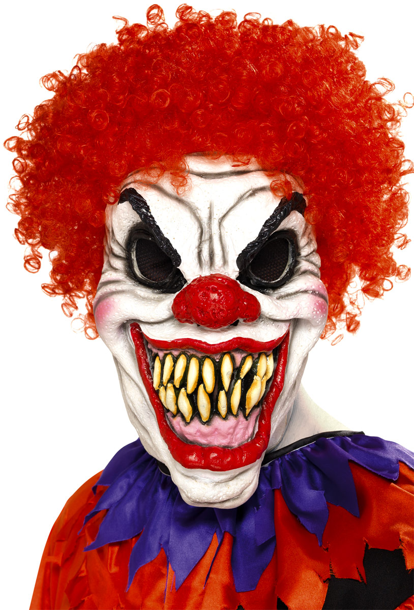 Scary clown mask with hair 35710 fancy dress ball - Masque halloween qui fait peur ...