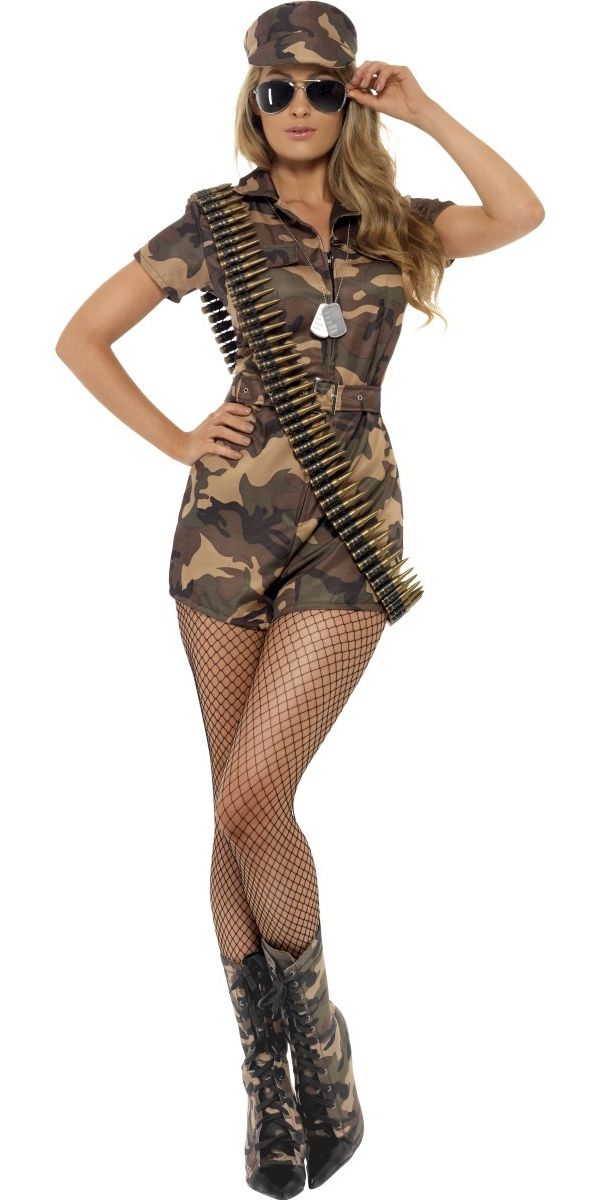 Adult Sexy Army Girl Costume 28864 Fancy Dress Ball