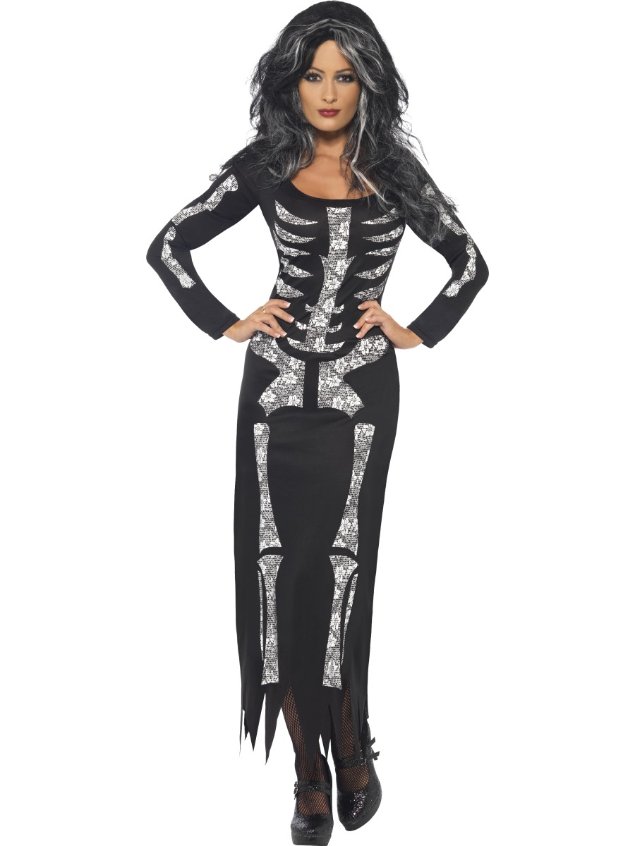 Superb Adult Skeleton Tube Dress Costume