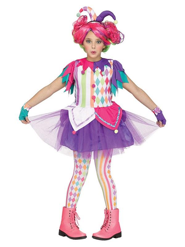 Teen Colourful Harlequin Clown Costume - 115312