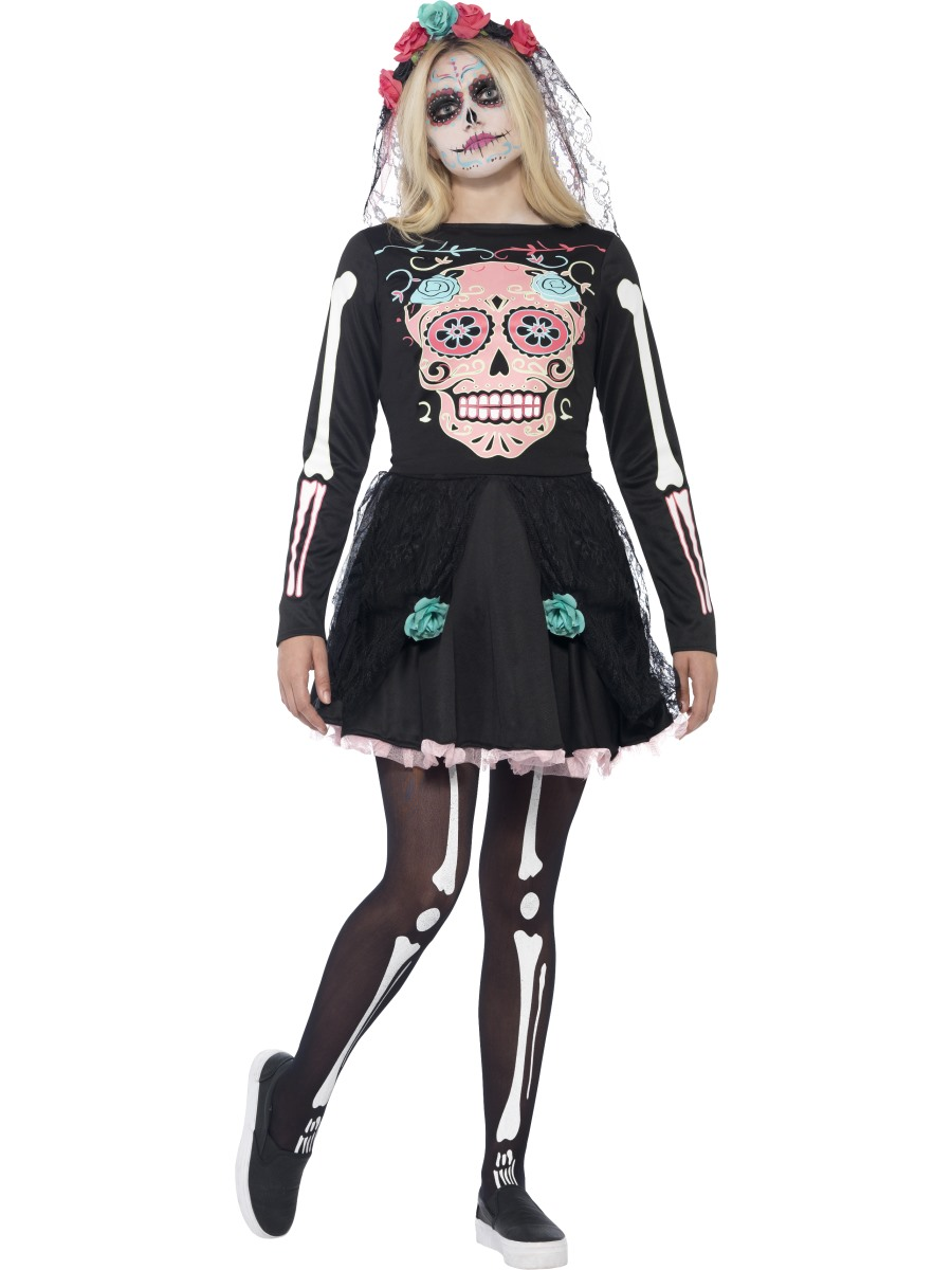 Teen Sugar Skull Sweetie Costume 44341 Fancy Dress Ball