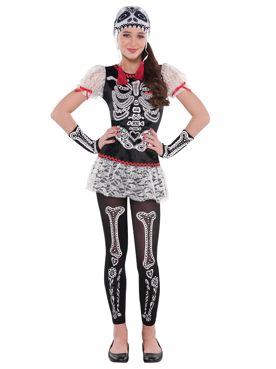 Skeleton Girls Fancy Dress Day of the Dead Mexican Halloween Childs Kids Costume