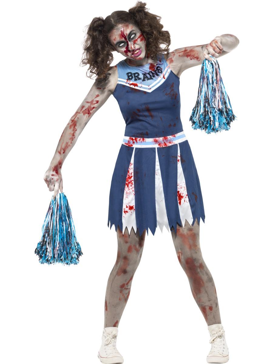 CHILDRENS GIRLS BLUE ZOMBIE CHEERLEADER SCHOOL FANCY DRESS COSTUME HALLOWEEN