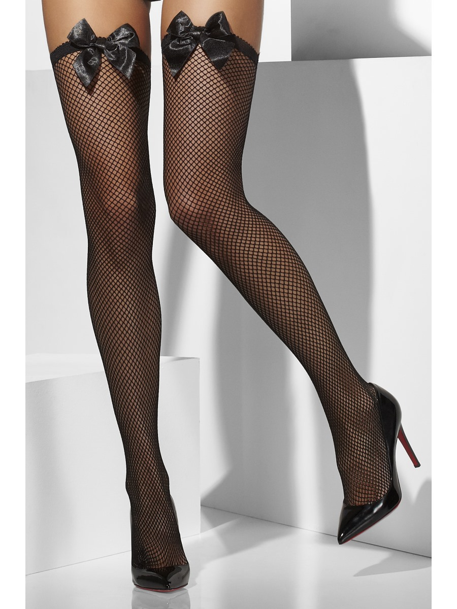 A little naughty and a lot of sexy! Black Corset Top Thigh High Stockings feature a lace garter that ties up the back by black satin ribbons. These women's thigh-highs also have a black seam down the back that elongates the legs.