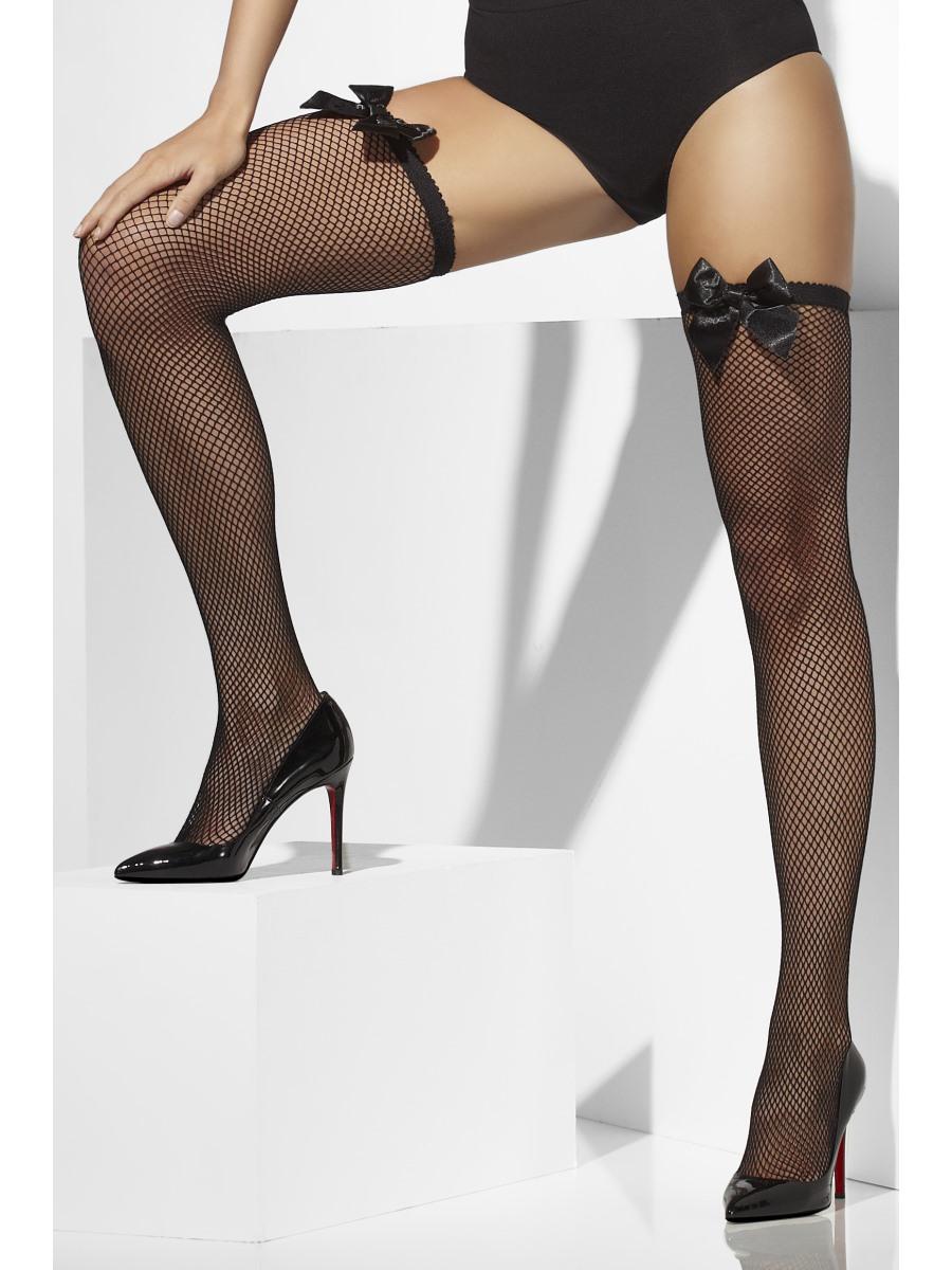 f0fefc2b9 Thigh High Fishnet Stockings Black with Bow - 42745 - Fancy Dress Ball