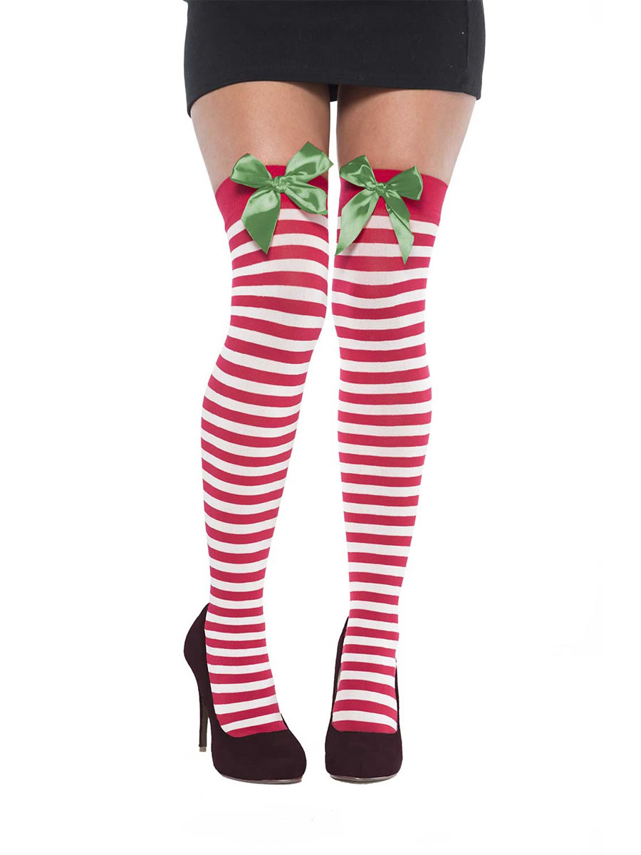 778d57fec2395 Thigh High Holiday Stockings with Bow - 392369-55 - Fancy Dress Ball