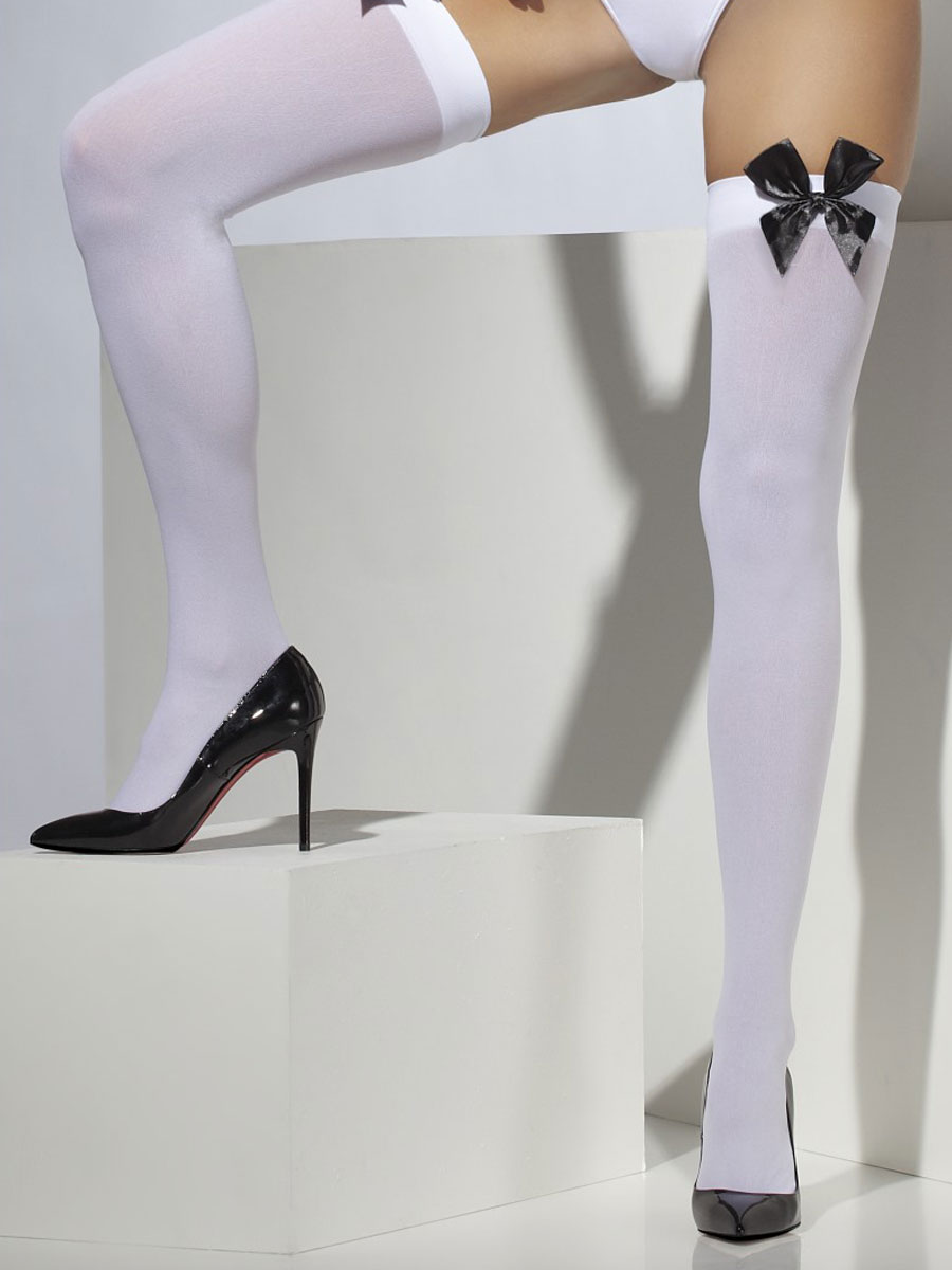 5dcad1db408d63 Thigh High Stockings White and Black - 42760 - Fancy Dress Ball