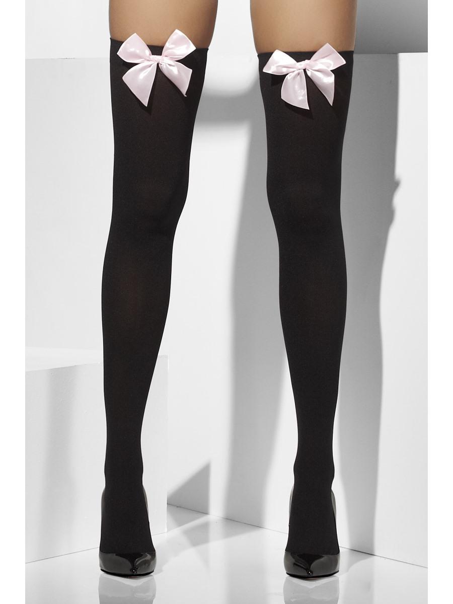 Thigh High Stockings Black Pink 42763 Fancy Dress Ball