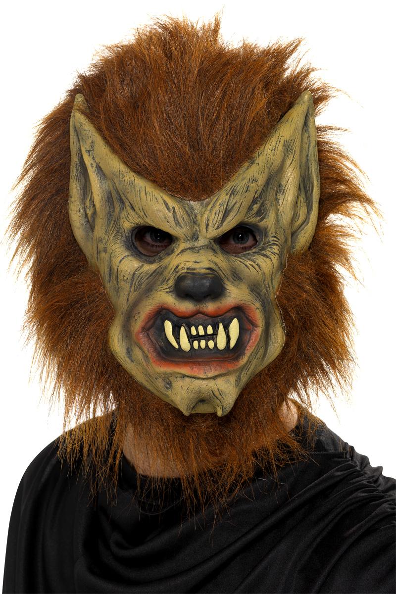 Werewolf Mask Brown Rubber 20301 Fancy Dress Ball