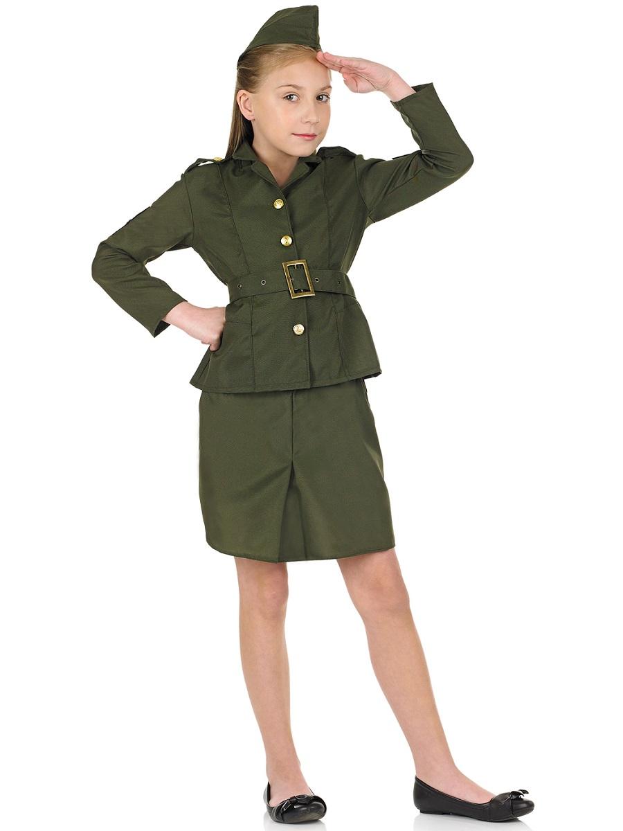 Ww2 army girl childrens costume fs2969 fancy dress ball