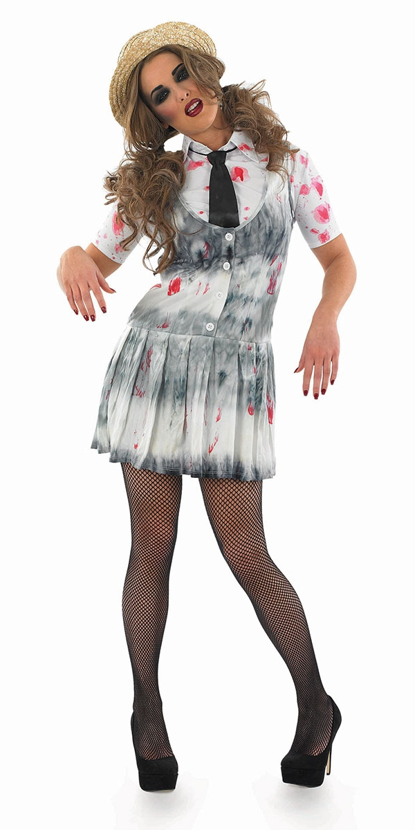 Halloween Zombie Costumes For Girls.Adult Zombie School Girl Costume