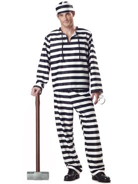 Adult Deluxe Jailbird Prisoner Costume Thumbnail