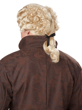 18th Century Blonde Peruke Wig - Back View