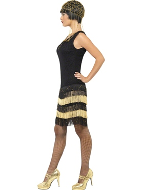 Adult 1920's Fringed Flapper Costume - Back View