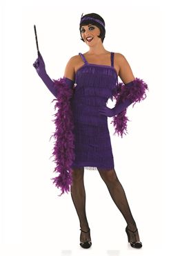 Adult 20s Roaring Purple Flapper Costume