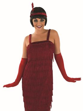 Adult 20s Roaring Red Flapper Costume - Back View