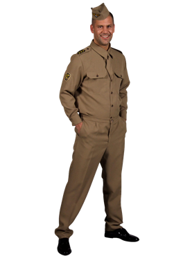 Adult 1940s GI American Army Uniform Couples Costume