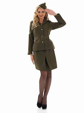 Adult World War 2 Army Girl Costume - Back View