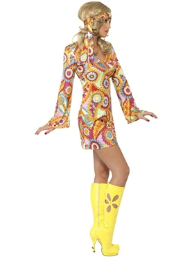 Adult 1960's Hippy Costume - Side View