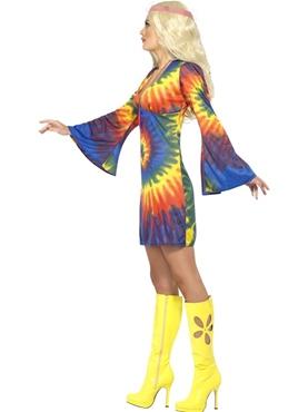 Adult 1960s Ladies Tie Dye Costume - Back View