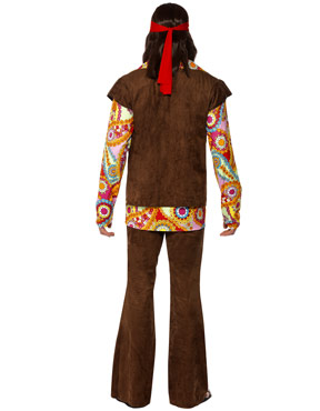 Adult 1960s Psychedelic Hippy Costume - Back View