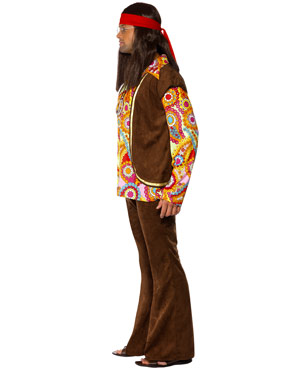 Adult 1960s Psychedelic Hippy Costume - Side View