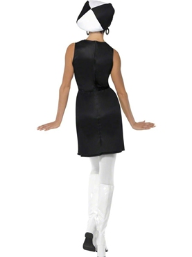 Adult 60's Black and White Party Costume - Side View