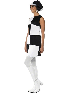 Adult 60's Black and White Party Costume - Back View