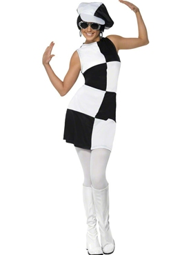 Adult 60's Black and White Party Costume