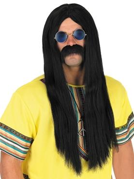 60's Black Hippie Wig & Glasses
