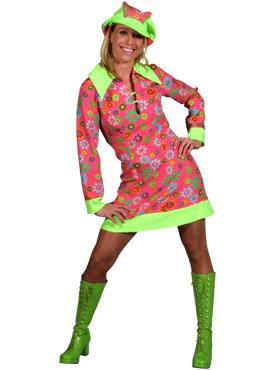 Adult 60's Pink Floral Hippy Dress