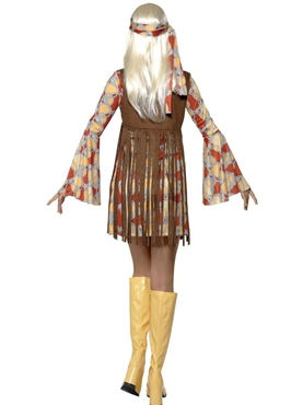 Adult 70's Hippie Fringed Costume - Side View