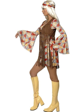 Adult 70's Hippie Fringed Costume - Back View