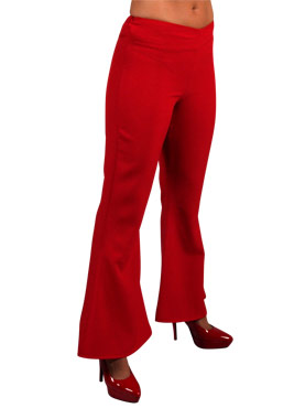 Adult Deluxe Ladies Red Flared Trousers