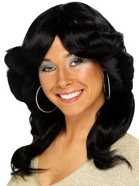 70's Long Wavy Layered Flick Wig Black