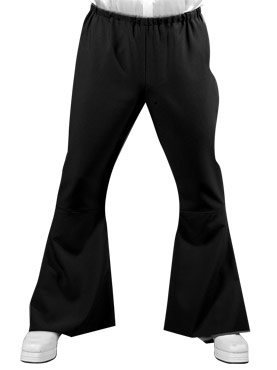 Adult Deluxe Mens Black Flared Trousers