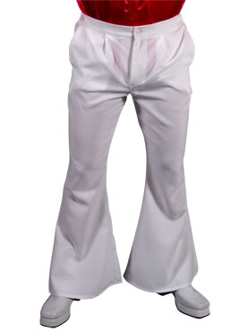 Adult 70s Mens White Flared Trousers