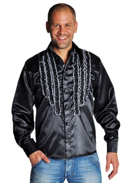 Adult 70's Mens Frilled Black Satin Shirt