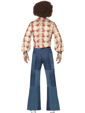 Adult 70's Denim Look Flared Trousers - Side View
