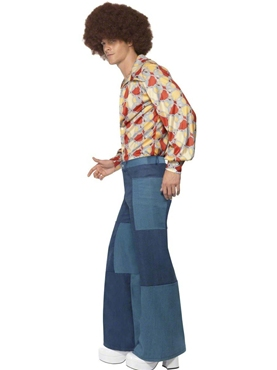 Adult 70's Denim Look Flared Trousers - Back View