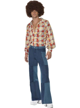 Adult 70's Denim Look Flared Trousers Thumbnail