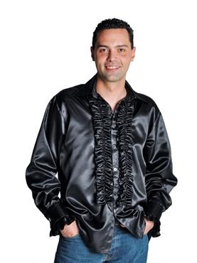 Adult 70's Mens Black Satin Shirt