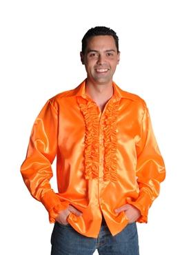Adult 70's Mens Orange Satin Shirt