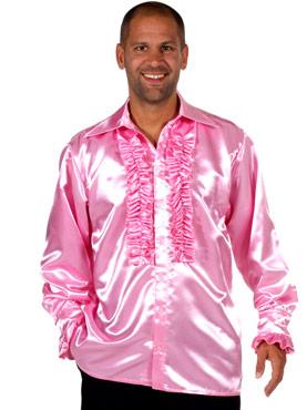 Adult 70's Mens Pink Satin Shirt