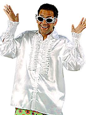 Adult 70's Mens White Satin Shirt