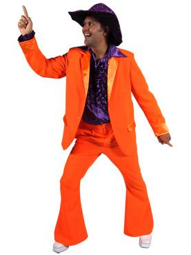 Adult Deluxe Orange 70's Mens Suit