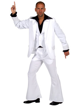 Adult 70's Deluxe White Mens Suit