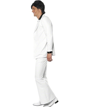 Adult 70's Mens White Suit Costume - Side View