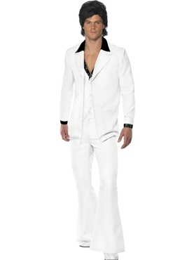 Adult 70's Mens White Suit Costume Couples Costume