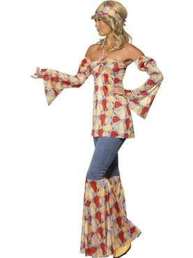 Adult 70's Vintage Hippy Costume - Back View